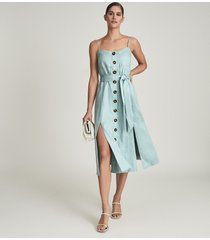 reiss catalina - linen button-up midi dress in sage, womens, size 14