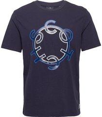 scotch & soda crew neck logo tee t-shirts short-sleeved blå scotch & soda