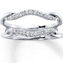 0.40 ct round cut diamond 14k real white gold enhancer wrap engagement ring
