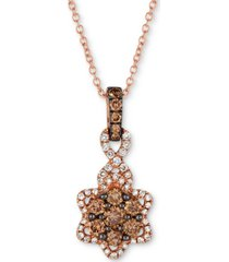 "le vian chocolatier diamond flower 18"" pendant necklace (1/2 ct. t.w.) in 14k rose gold"