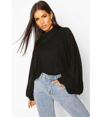 satin volume sleeve high neck blouse, black