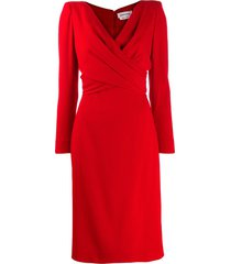 alexander mcqueen draped mid-length dress - red