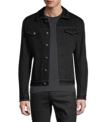 john varvatos men's slim-fit zipper-trim denim jacket - black - size 54