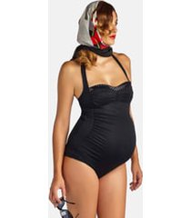 women's pez d'or retro ruched one-piece maternity swimsuit, size small - black