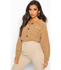 utility pocket gathered waist shirt, camel