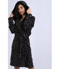 roupão de fleece feminino poá com faixa para amarrar manga longa preto