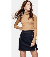 indigo denim front notch denim skirt - indigo