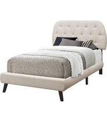 monarch specialties bed - twin size linen with wood legs