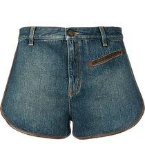 contrast piping denim shorts