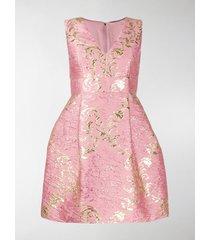 dolce & gabbana short floral jacquard lamé dress