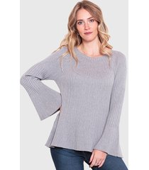sweater wados escote redondo manga campana gris - calce regular