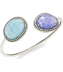 14k white gold, diamond, aquamarine & tanzanite bendable cuff bracelet