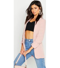 ruched sleeve blazer, blush