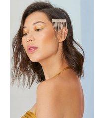 amaro feminino presilha cabelo strass franja, dourado
