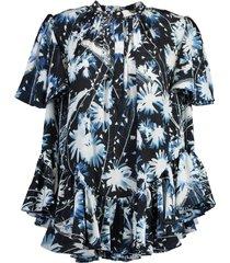 ruffled a-line print shirt