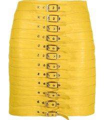 manokhi buckle-detail leather skirt - yellow