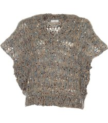 brunello cucinelli perforated v-neck top