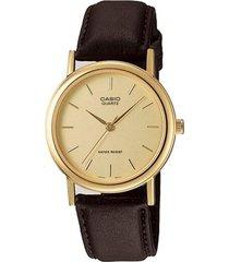 reloj analógico hombre casio mtp-1095q-9a - marrón con beige