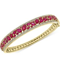 effy certified ruby (7-1/6 ct. t.w.) & diamond (1-1/6 ct. t.w.) bangle bracelet in 14k gold