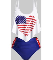 heart american flag overlay flounces ruched plus size tankini swimwear