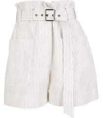 pinestripe paperbag waist belted bermuda shorts