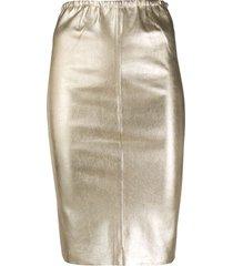 zadig & voltaire jaden metallic pencil skirt - gold