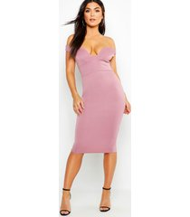 sweetheart off shoulder bodycon midi dress, mauve