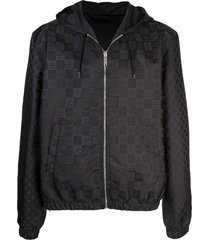 givenchy all-over logo print hooded jacket - black