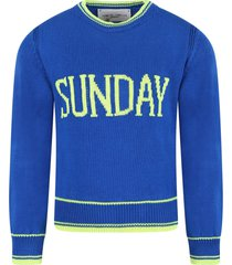 alberta ferretti royal blue girl sweater with fucshia writing