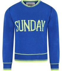 alberta ferretti royal blue sweater for girl with fucshia writing