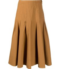 barena pleated a-line skirt - brown