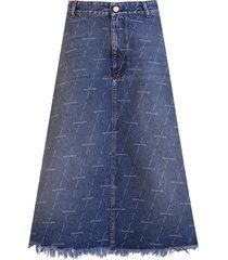 balenciaga logo print denim a-line skirt
