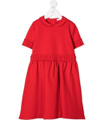 il gufo peter pan collar ruffle detail dress - red