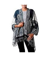 jamawar wool shawl, 'teal whisper' (india)