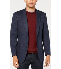 tommy hilfiger men's modern-fit thflex stretch navy/burgundy windowpane sport coat