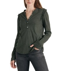 lucky brand ruffled dot-print henley top