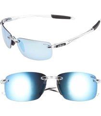 men's revo 'descend n' 64mm polarized rimless sunglasses - crystal/ blue water