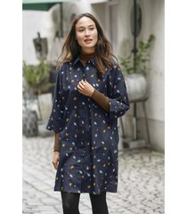 blousejurk uit bio-katoen met kimonomouwen en bloemenprint, nachtblauw 34