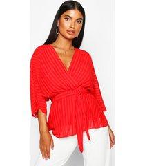 petite geweven gestreepte wikkel blouse met vleermuismouwen, rood