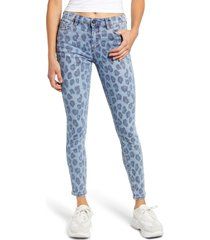 women's blanknyc the bond leopard print ankle skinny jeans, size 28 - blue