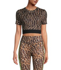 pam & gela women's leopard-print cropped top - natural - size s