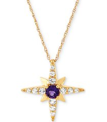 """amethyst (1/6 ct. t.w.) & white topaz (1/4 ct. t.w.) 18"""" star pendant necklace in 14k gold"""