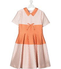 mi mi sol teen quilted short-sleeved dress - pink