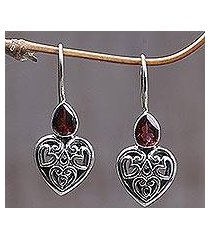 garnet earrings, 'heart's desire' (indonesia)