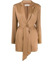 emilio pucci belted long-length jacket - brown