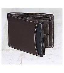 men's leather wallet, 'city sophisticate in brown' (india)