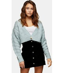 blue stitch cropped knitted cardigan - blue
