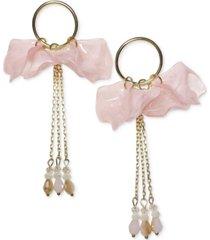 inc gold-tone chain, bead & shaky petal statement earrings, created for macy's