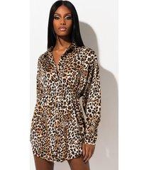 akira brace yourself leopard satin tunic dress