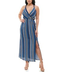 monteau petite striped faux-wrap maxi dress